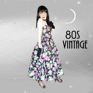 Vtg Strapless Sundress 50s Style Full Skirt Dress